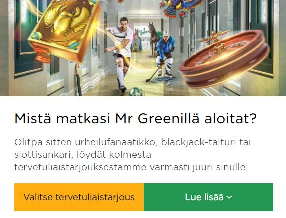 Mr Green ja tervetuliaisetu blackjackiin